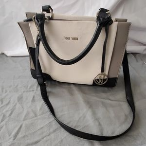 Black and white monochromatic Nine West crossbody